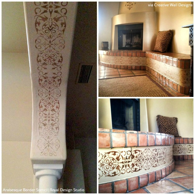 Metallic Stenciled Columns with Royal Design Studio Arabesque Border Stencils