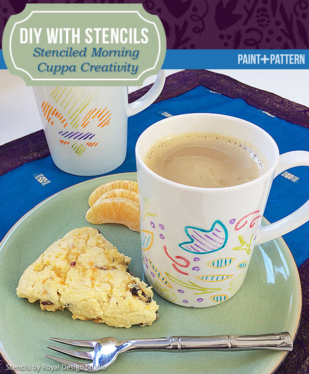 Learn how to stencil crafts - Painted coffee mugs with Royal Design Studio stencils