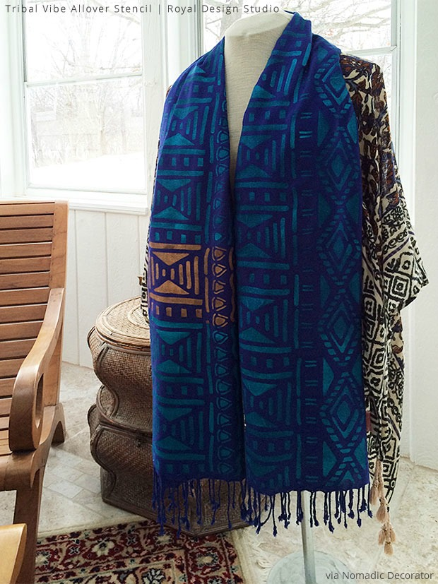 Stencil a fabric scarf as a DIY craft project with Royal Design Studio tribal pattern stencils