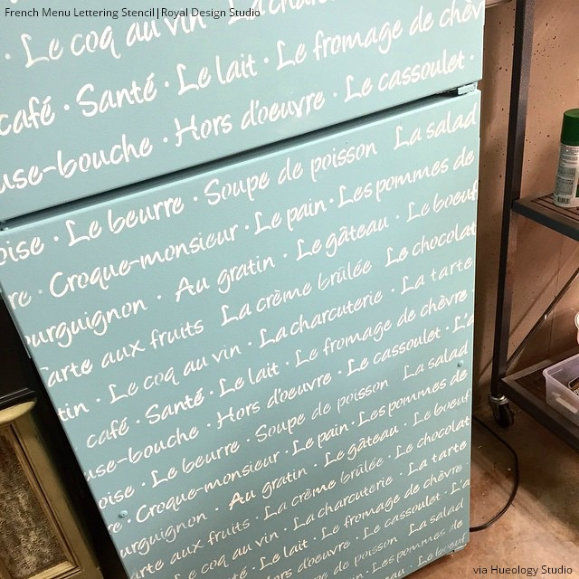 Decorate your refrigerator and 10 other amazing furniture painting ideas with letter stencils - Royal Design Studio