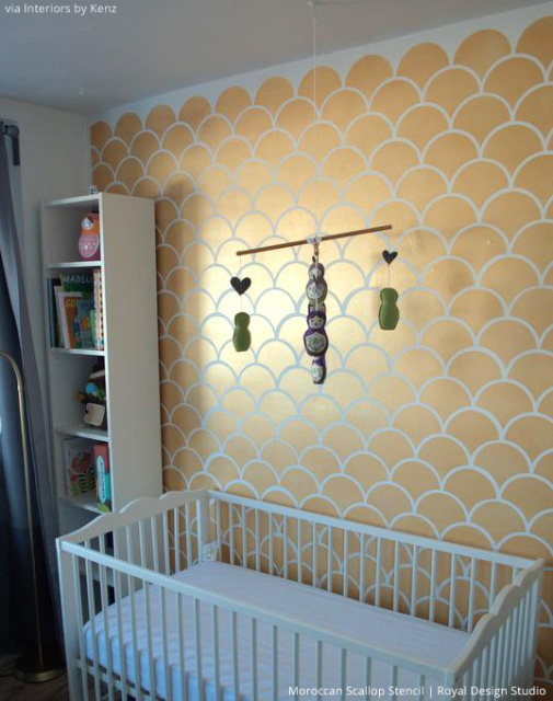 Chic Gold Accent Walls with Scallops Wall Stencil - Royal Design Studio