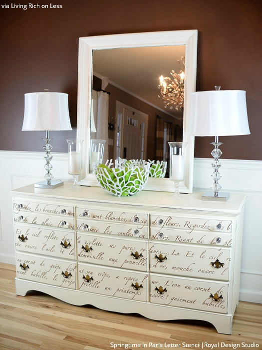 10 amazing furniture painting ideas with letter stencils - Royal Design Studio