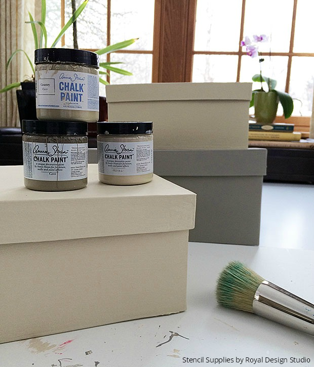 Stenciled Boxes for Fierce Office Decor