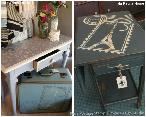 6 ideas on using French designs and Chalk Paint for vintage furniture stencils - Royal Design Studio