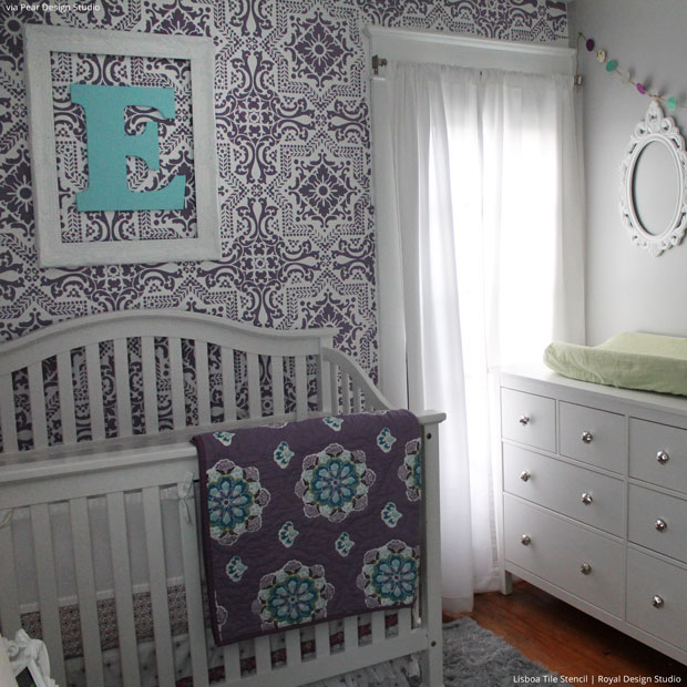 Lisboa Tile Wall Stencils in Trendy Purple Nursery Decor - Royal Design Studio