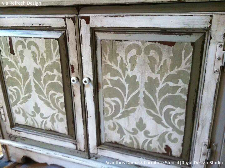 Distressed and Stenciled Furniture using Vintage Stencils from Royal Design Studio