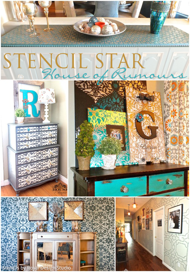 House of Rumours is our newest Stencil Star! See more of her designer stencil projects that are all DIY! - Royal Design Studio Furniture and Wall Stencils