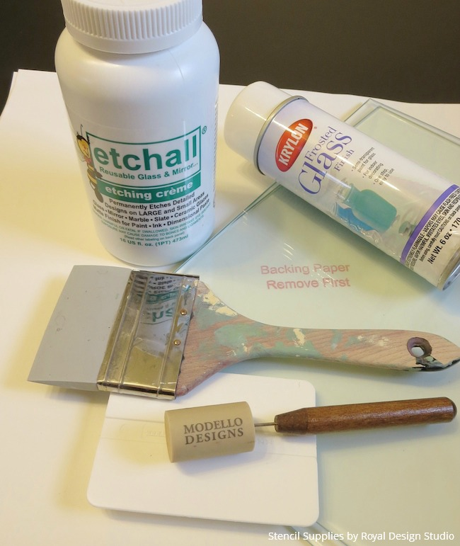 Stencil Supplies and Etching Glass Project