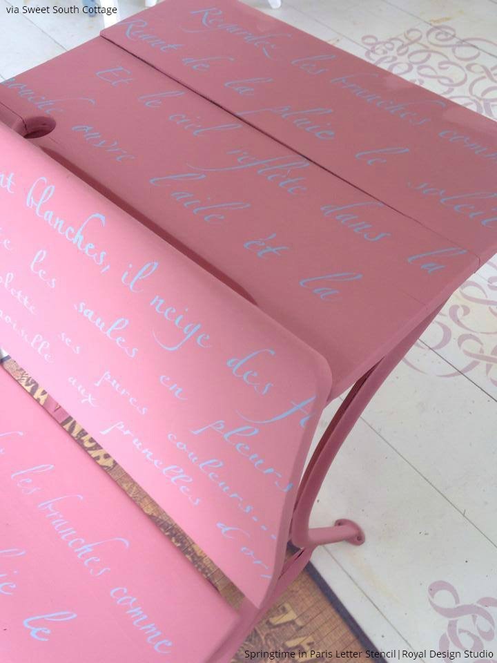 Vintage Painted Furniture gets a makeover with pink paint and letter stencils - Check out these 10 furniture painting ideas with letter stencils