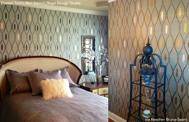 Stencil bedroom accent walls with Royal Design Studio stencil supplies and Royal Stencil Creme Paint