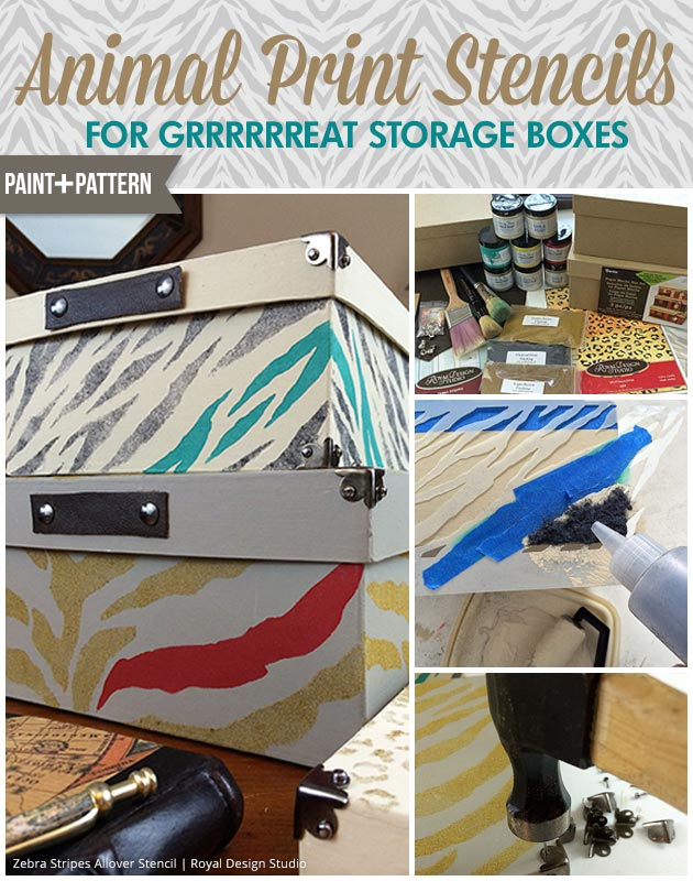 Decorate your office with fierce decor - Stencil tutorial with flocking on animal print boxes
