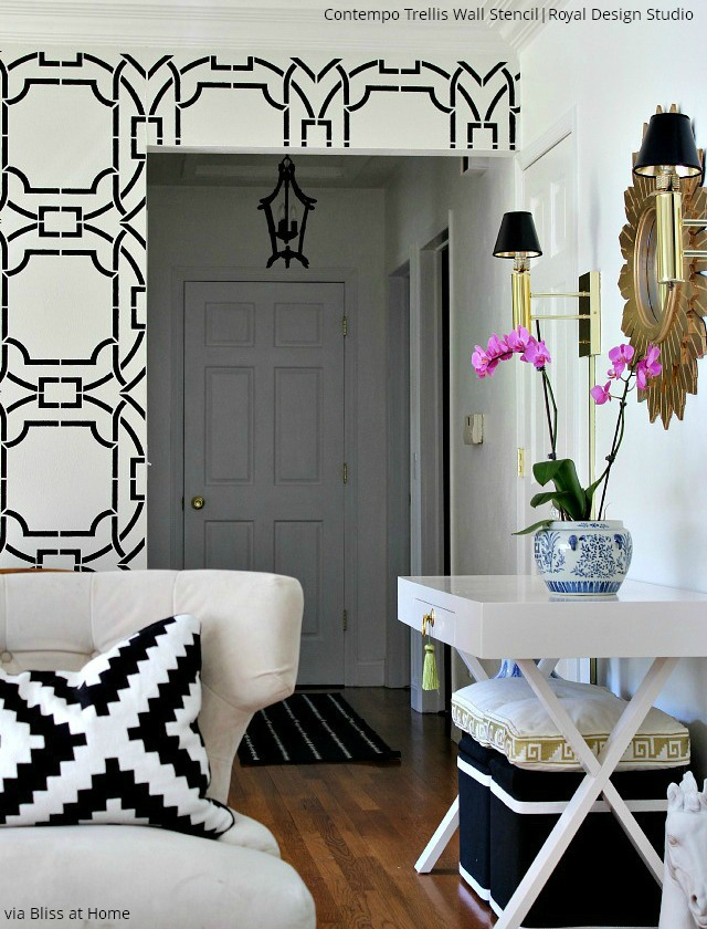 Stencil an accent wall with black and white Royal Design Studio patterns to update your living room - 6 trendy stenciled walls ideas