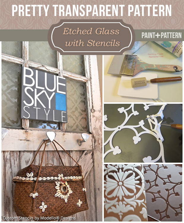 Learn how to etch glass with custom vinyl stencils from Modello - DIY etching glass tutorial
