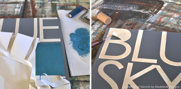 Painting with custom stencils to create DIY office decor sign