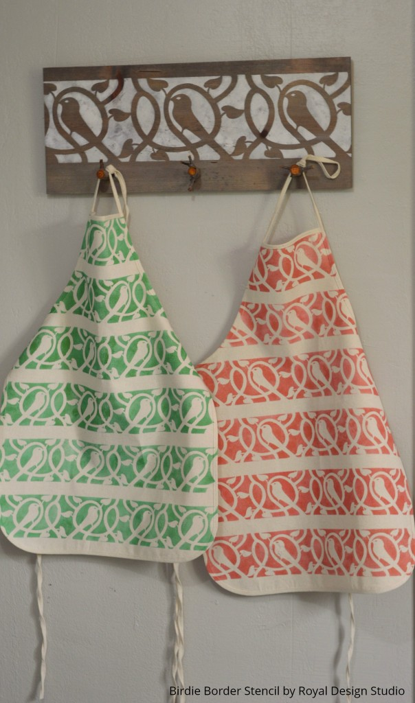 Stenciling on fabric to make DIY apron and coat rack - Royal Design Studio - How to stencil tips