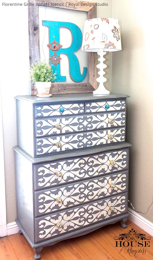 DIY Painted Furniture Makeover - Stenciled Dresser Drawers - Royal Design Studio