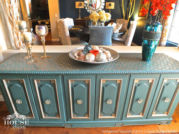 Geometric and Modern Stenciled Furniture Makeover - Royal Design Studio