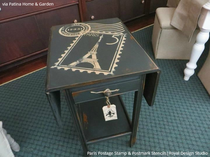 Chalk Paint and Vintage Letter Stencils make great furniture painting ideas - Royal Design Studio