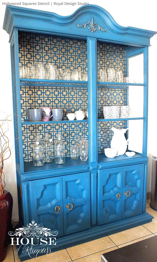 Paint a bold and colorful cabinet with furniture stencils from Royal Design Studio