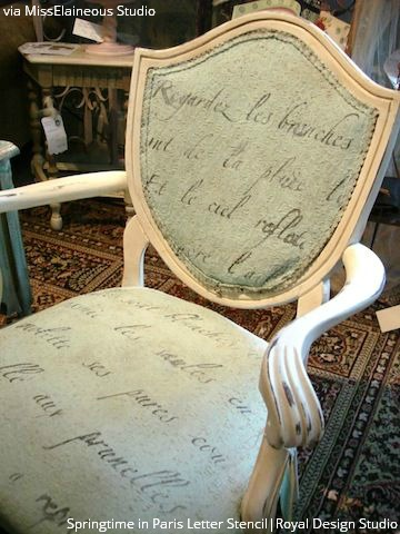 Letter Stencils on Upholstery - 10 Furniture Painting Ideas from Royal Design Studio