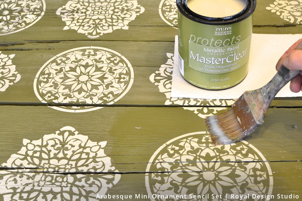 Farm Table Makeover | Arabesque Mini Ornament Stencil Set by Royal Design Studio