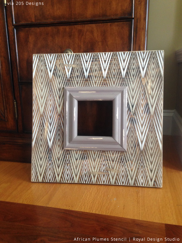 Stenciled Frame via 205 Designs | African Plumes Stencil by Royal Design Studio