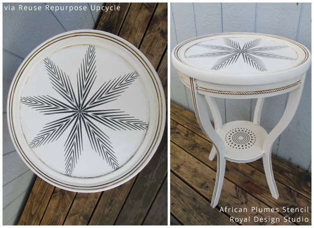 Stenciled Table Top via Reuse Repurpose Upcycle | African Plumes Stencil by Royal Design Studio