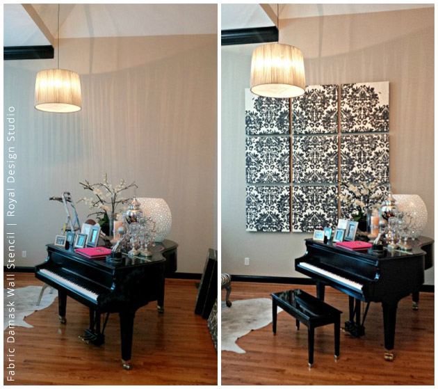 Before & After of Wall Art Project Using Glass Shards & Metallic Plaster | Fabric Damask Stencil by Royal Design Studio