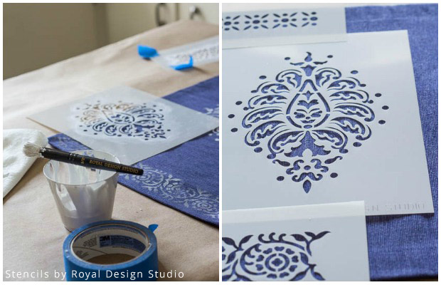 Supplies for Stenciled Placemat DIY | Stencils by Royal Design Studio