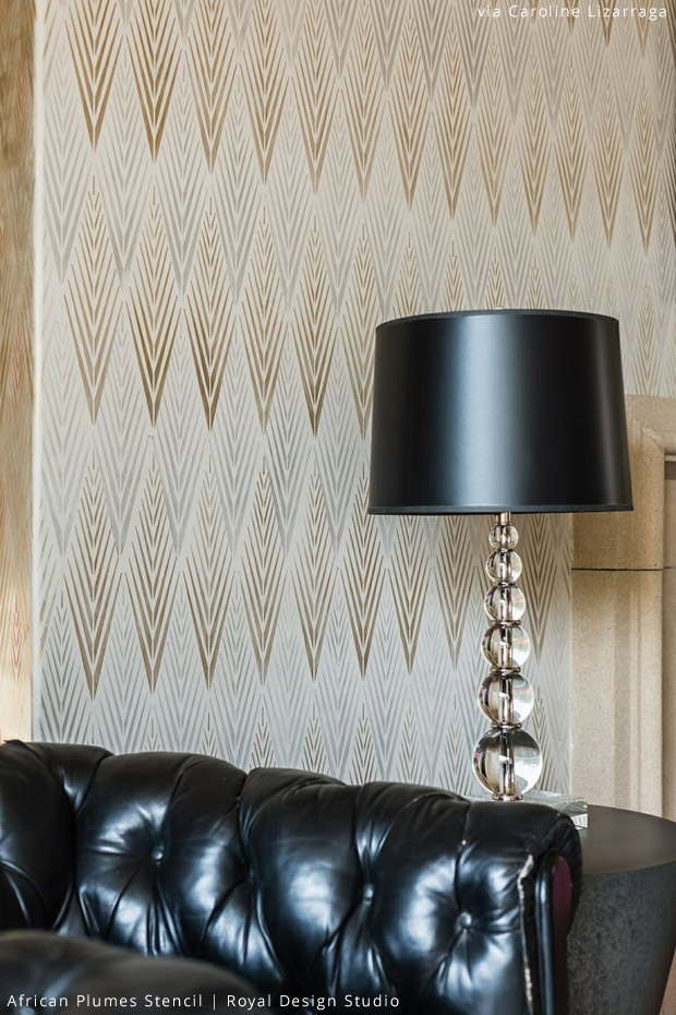 Stenciled Wall via Caroline Lizarraga |African Plumes Stencil by Royal Design Studio