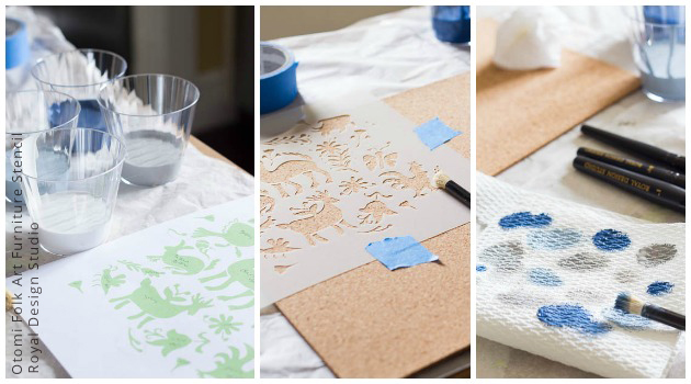 Stenciled Tablescapes DIY | Otomi Folk Art Furniture Stencil by Royal Design Studio