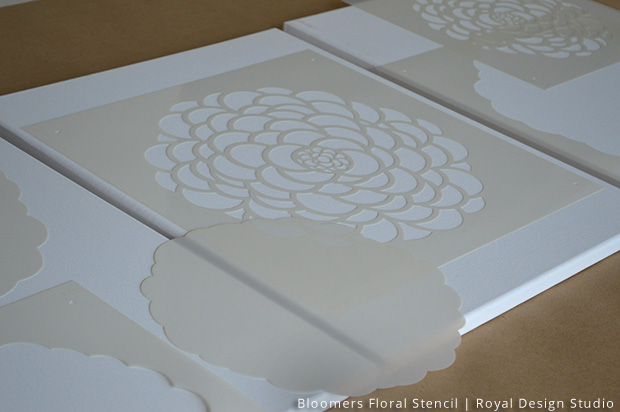 Design Your Stencil Layout for Canvas Wall Art DIY | Bloomers Floral Wall Stencil by Royal Design Studio