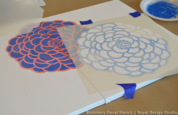 Layered Bloomers for Canvas Wall Art DIY | Bloomers Floral Wall Stencil by Royal Design Studio