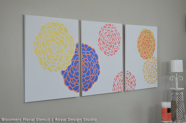 Canvas Wall Art DIY | Bloomers Floral Wall Stencil by Royal Design Studio