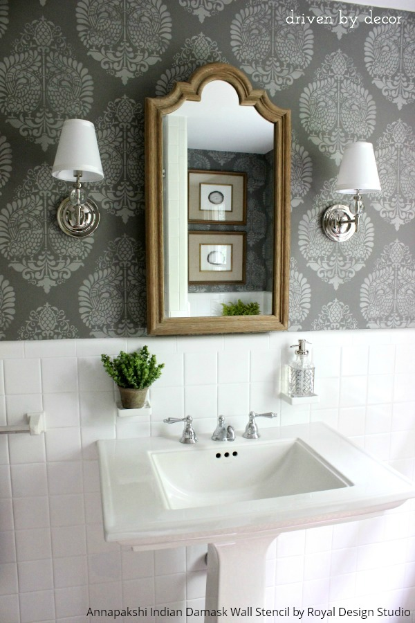 Boring Bathroom Be Gone! 10 Bathroom Makeover Ideas using Wall Stencils from Royal Design Studio