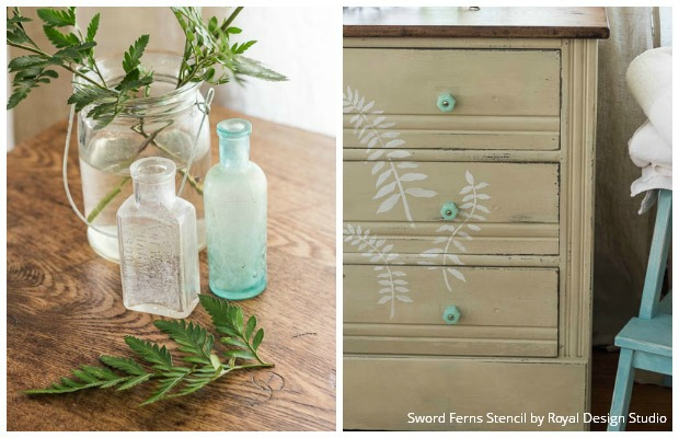 Feathery Fern Stencils for a Chalk Paint® Dresser - DIY Stencil on Painted Furniture Tutorial with Royal Design Studio