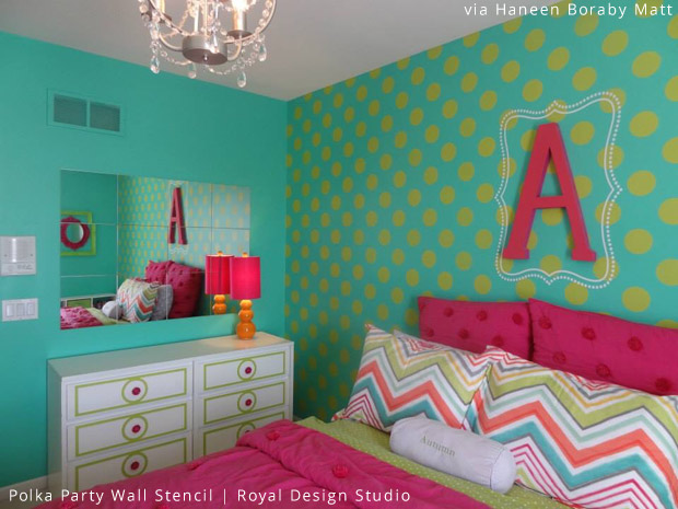 Tween's Bedroom Feature Wall | Polka Party Wall Stencil by Royal Design Studio