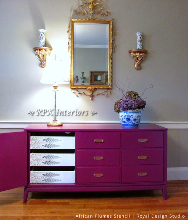Stenciled Hidden Drawers via RPK-Interiors | African Plumes Stencil by Royal Design Studio