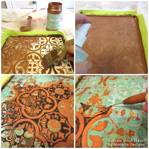 Adding Patina using Modern Masters Product on Custom Vinyl Stencil Pattern by Modello® Designs