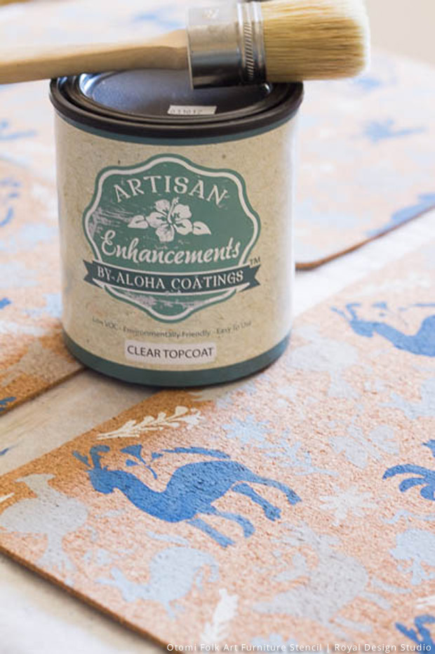 Sealer for Stenciled Tablescapes DIY | Otomi Folk Art Furniture Stencil by Royal Design Studio