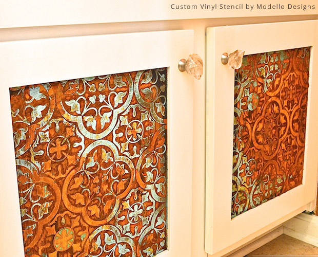 Custom Vinyl Stencil on Bathroom Door DIY | Modello® Designs