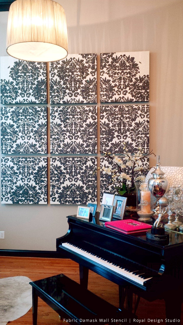 Canvas Wall Art Project Using Glass Shards & Metallic Plaster | Fabric Damask Stencil by Royal Design Studio