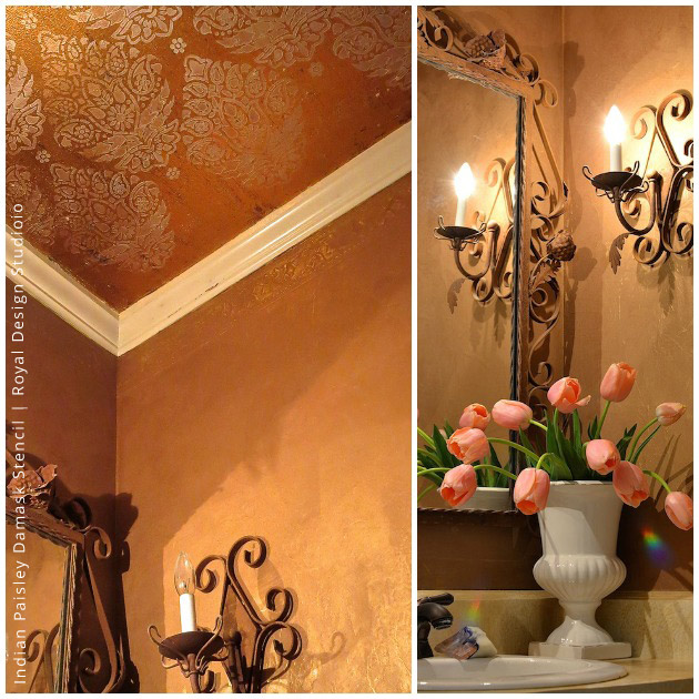 Stenciled Ceiling | Indian Paisley Damask Stencil by Royal Design Studio