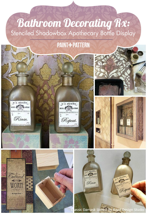 Bathroom Decorating Rx Stenciled Shadowbox Apothecary Bottle Display Diy Stencil Tutorial