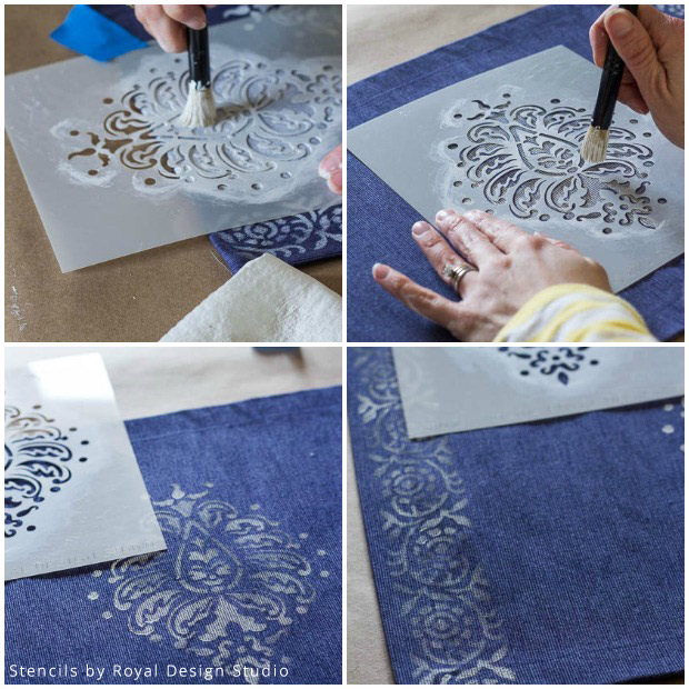 Stenciled Placemat DIY | Stencils by Royal Design Studio