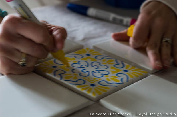 Diy Tile Coasters Talavera Stencil Set By Royal Design Studio