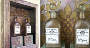 Bathroom Decorating Rx: Stenciled Shadowbox Apothecary Bottle Display