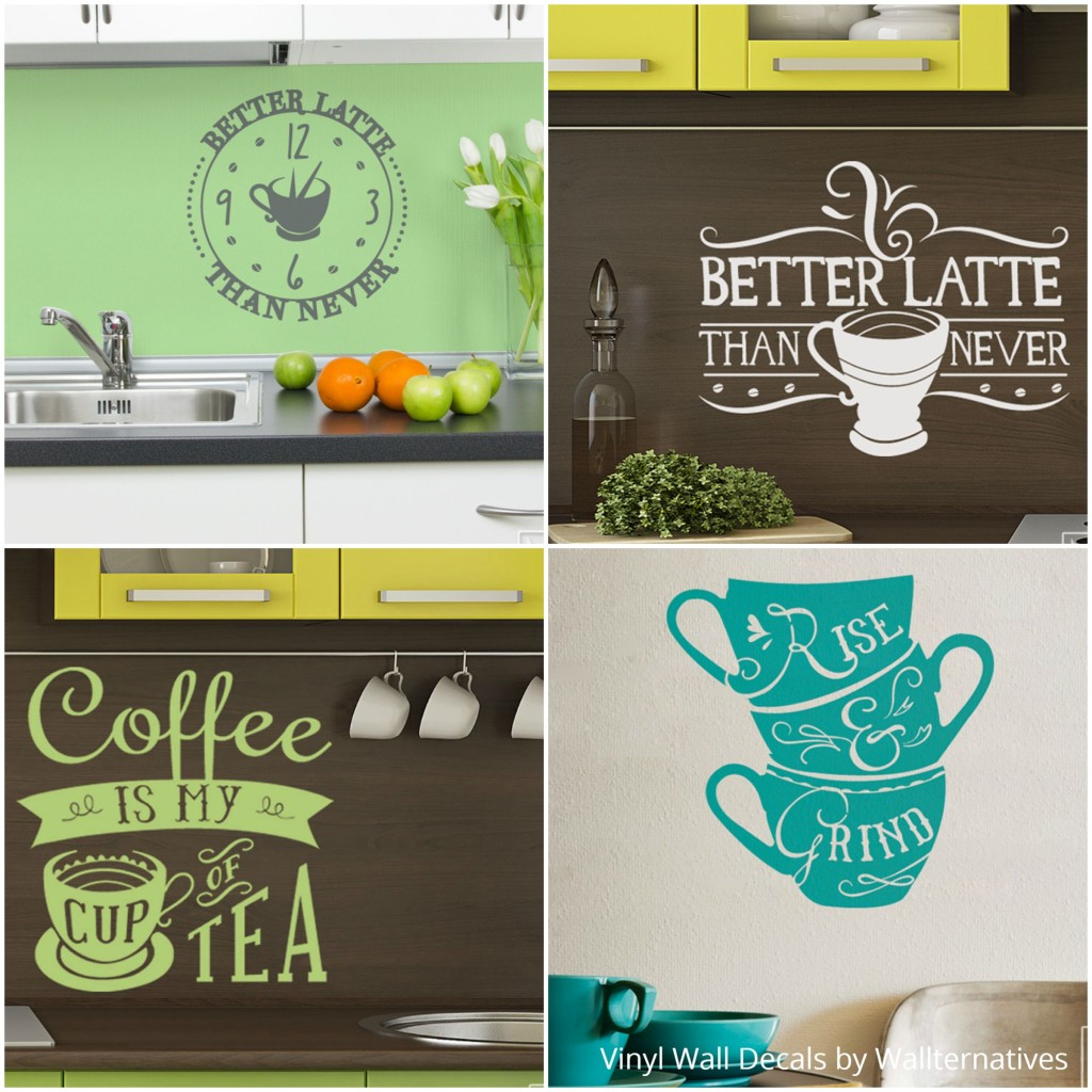 Decorate your kitchen wall art with vinyl wall quotes - Coffee and Tea Wall Decor from Wallternatives