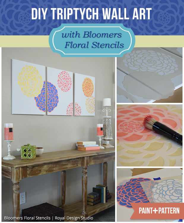 DIY Triptych Wall Art | Bloomers Floral Stencil by Royal Design Studio