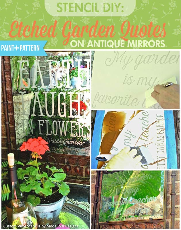 Stencil Etched Garden Quotes on Antique Mirrors | Custom Vinyl Stencils by Modello Designs